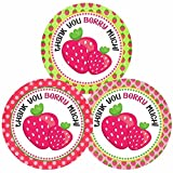 Strawberry Thank You Sticker Labels - Girl Children Birthday Baby Shower Party Supplies - Set of 30