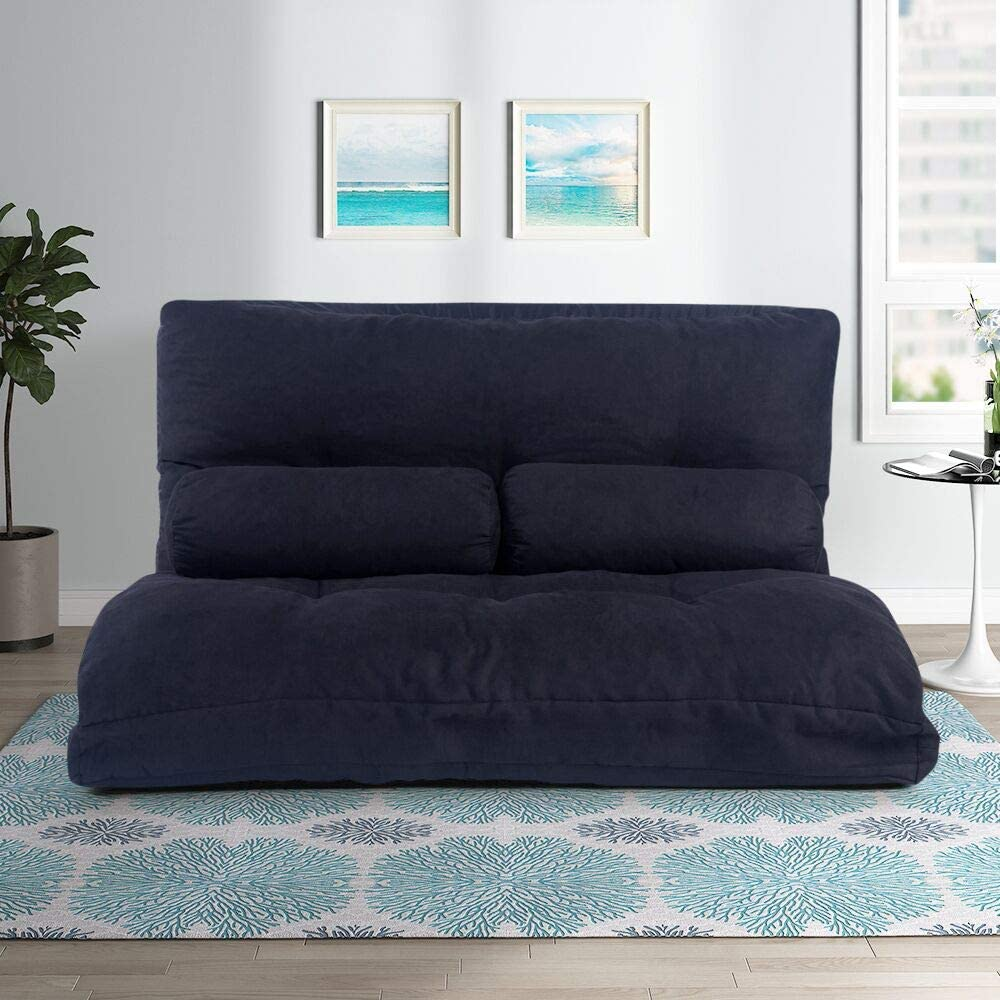Merax Floor Sofa Bed Sleeper Sofa Foldable Futon Sofa Couch Lazy Sofa for Living Room Ink Black