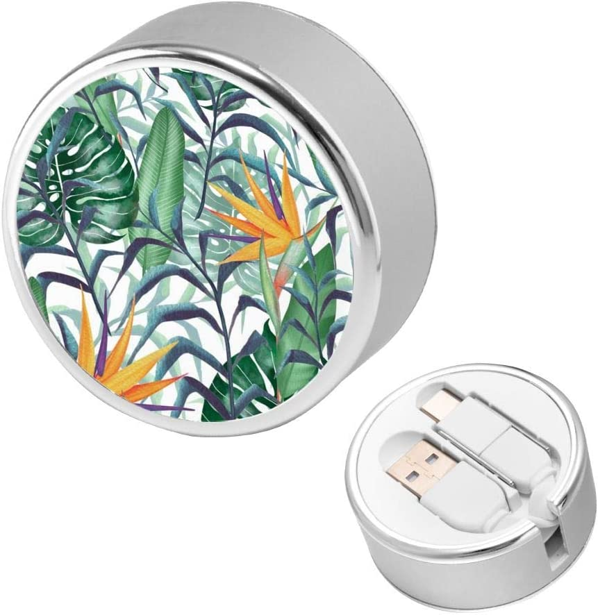 Tropical Plants Quick Charging Cable Retractable USB C Cable Multi Fast Charger Cord Adapter USB Port Connectors Compatible with iPhone,Android Phone,Samsung,Ipad,Laptop