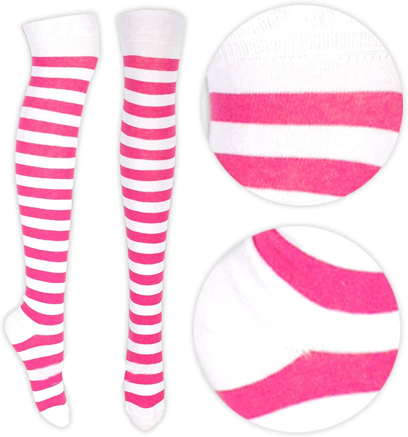 Womens Striped Over The Knee High Socks Fancy Dress