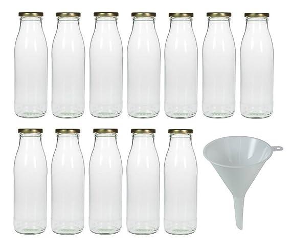 Viva-artículos de Uso doméstico - 15 Botellas pequeñas/Botellas 250 ML con tapón de Rosca Blanca - Incluye Embudo diámetro 12 cm: Amazon.es: Hogar