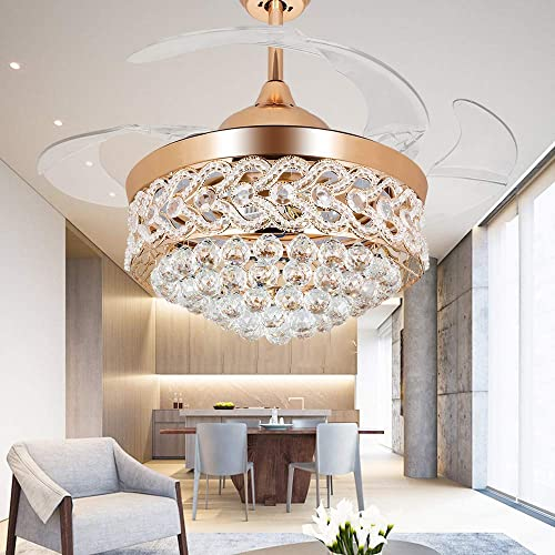RS Lighting Modern Crystal Gold Ceiling Fan Light Kit