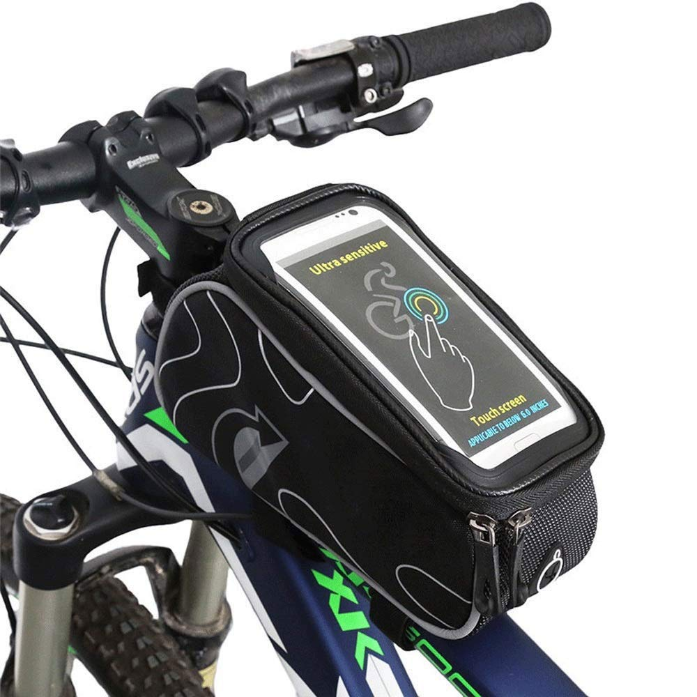 MYHXC Bike Phone Front Frame Bag - Waterproof Bicycle Top Tube Cycling Phone Mount Pack with Touch Screen for Cellphone with 6 Inches by MYHXC