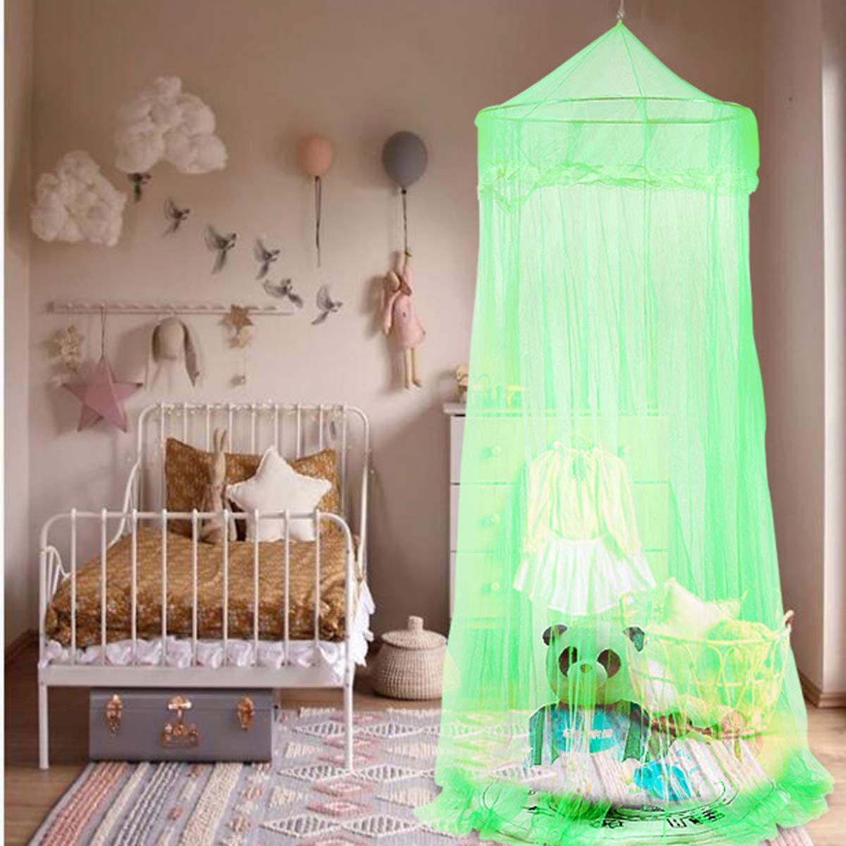 Blue Owlike Insect Mosquito Net Bed Canopy Lace Netting Mesh Drape Cover for Princess Sweet Baby Bedding