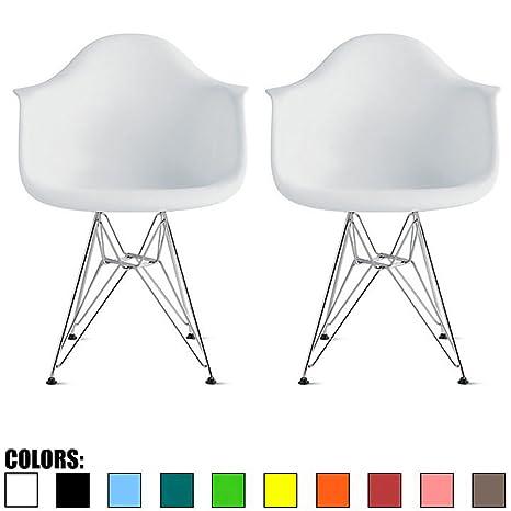 Amazon.com: Juego de 2 sillones de plástico de color negro ...