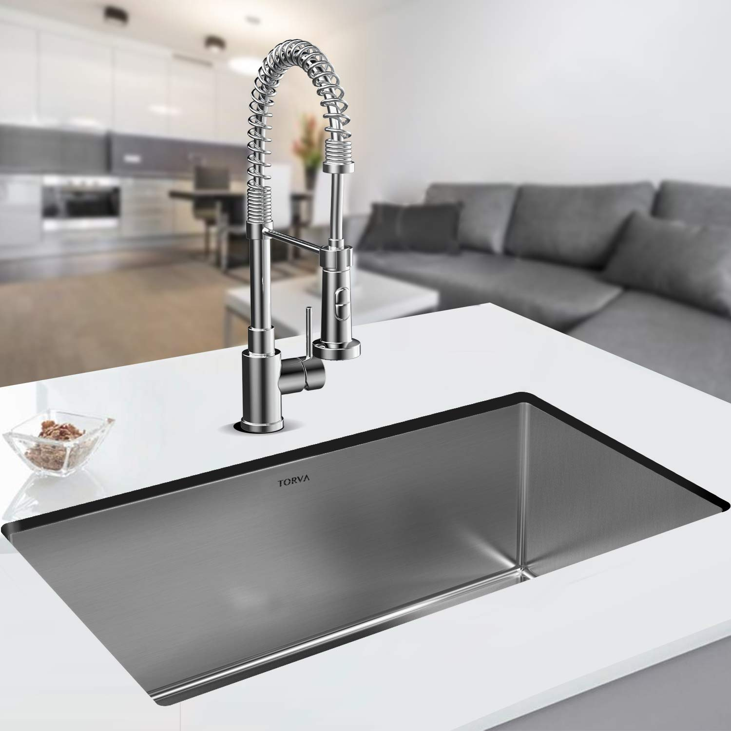 TORVA 30 Inch 16 Gauge Stainless Steel Undermount Kitchen Sink Single Bowl 10'' Deep by TORVA (Image #8)