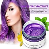 Bleaching Hair Before Dying Purple - Hair Wax Dye Color Styling Pomade Silver Grandma Grey Temporary Hair Dye Disposable Fashion Molding Coloring Mud Cream (Purple)