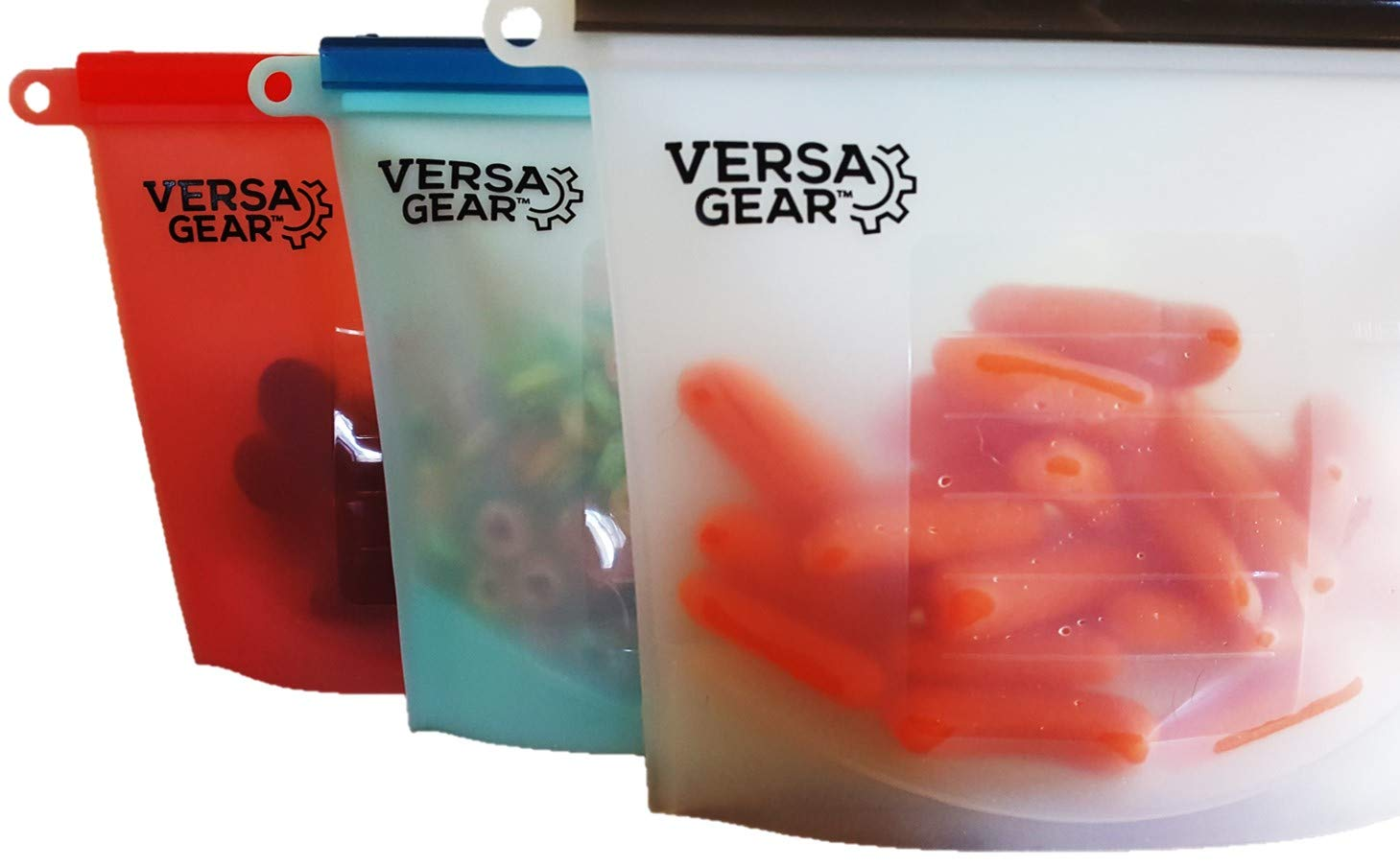 VersaGear Silutions Reusable Silicone Storage Bags 3-pack Half-gallon Sized Multi-purpose Versatile Kitchen, Outdoor, Household Use Superior Design