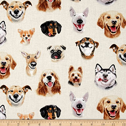 Elizabeth's Studio 0460636 Pet Selfies Dogs Fabric by The Yard, Cream