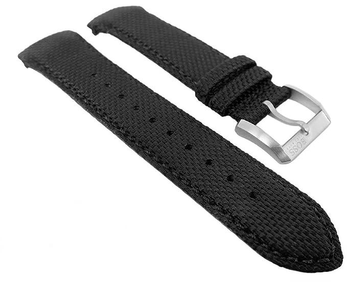 Hugo Boss Reloj de pulsera Textil en piel Negro 22 mm compatible con 1513087 HB.232.1.27.2731: Amazon.es: Relojes