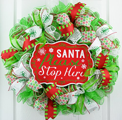Santa Claus Wreath | Santa Stop Here Christmas Mesh Outdoor Front Door Wreath White Red Lime Green