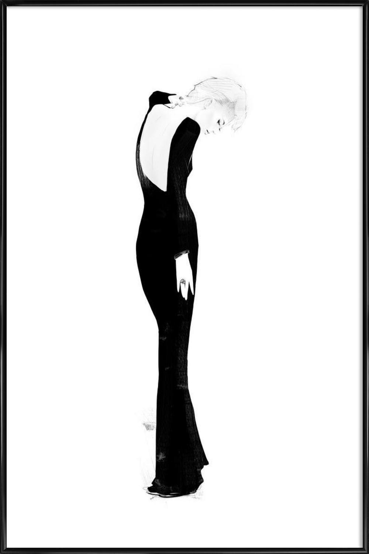 """JUNIQE® Bild mit Rahmen 60x90cm Schwarz & Weiß Modeillustration - Design """"Milou  (Format: Hoch) - Wandbilder, Gerahmte Bilder & Gerahmte Poster von unabhängigen Künstlern - Fashion und Mode Kunst - entworfen von Floyd Grau"""