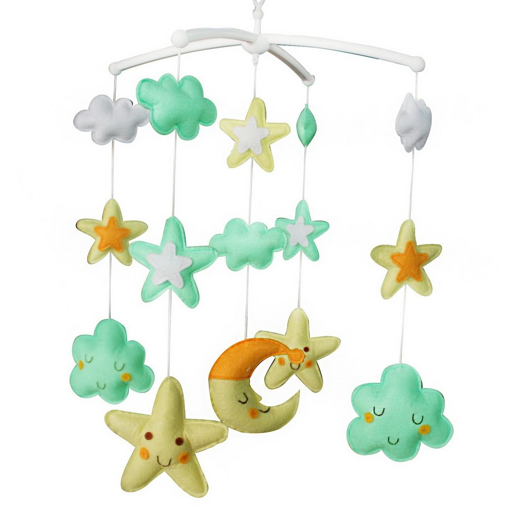 [Beautiful Stars]Baby Crib Mobile, Handmade Baby Bed Bell, Colourful Decoration Black Temptation