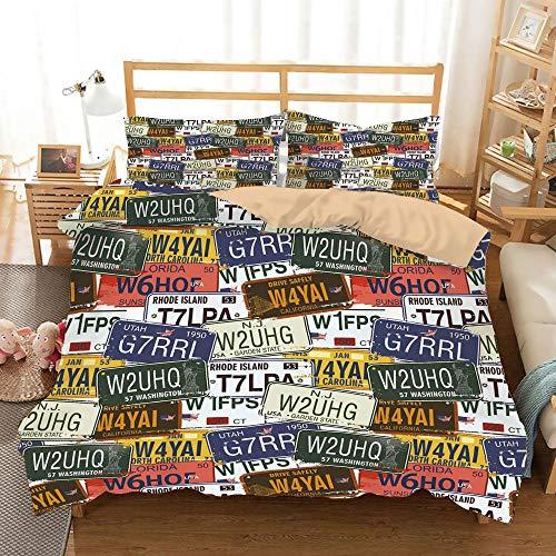 USA Khaki Duvet Cover Set King Size,Retro American Auto License Plates Utah Washington Rhode Island North Carolina Print,Decorative 3 Piece Bedding Set with 2 Pillow Shams,Multicolor