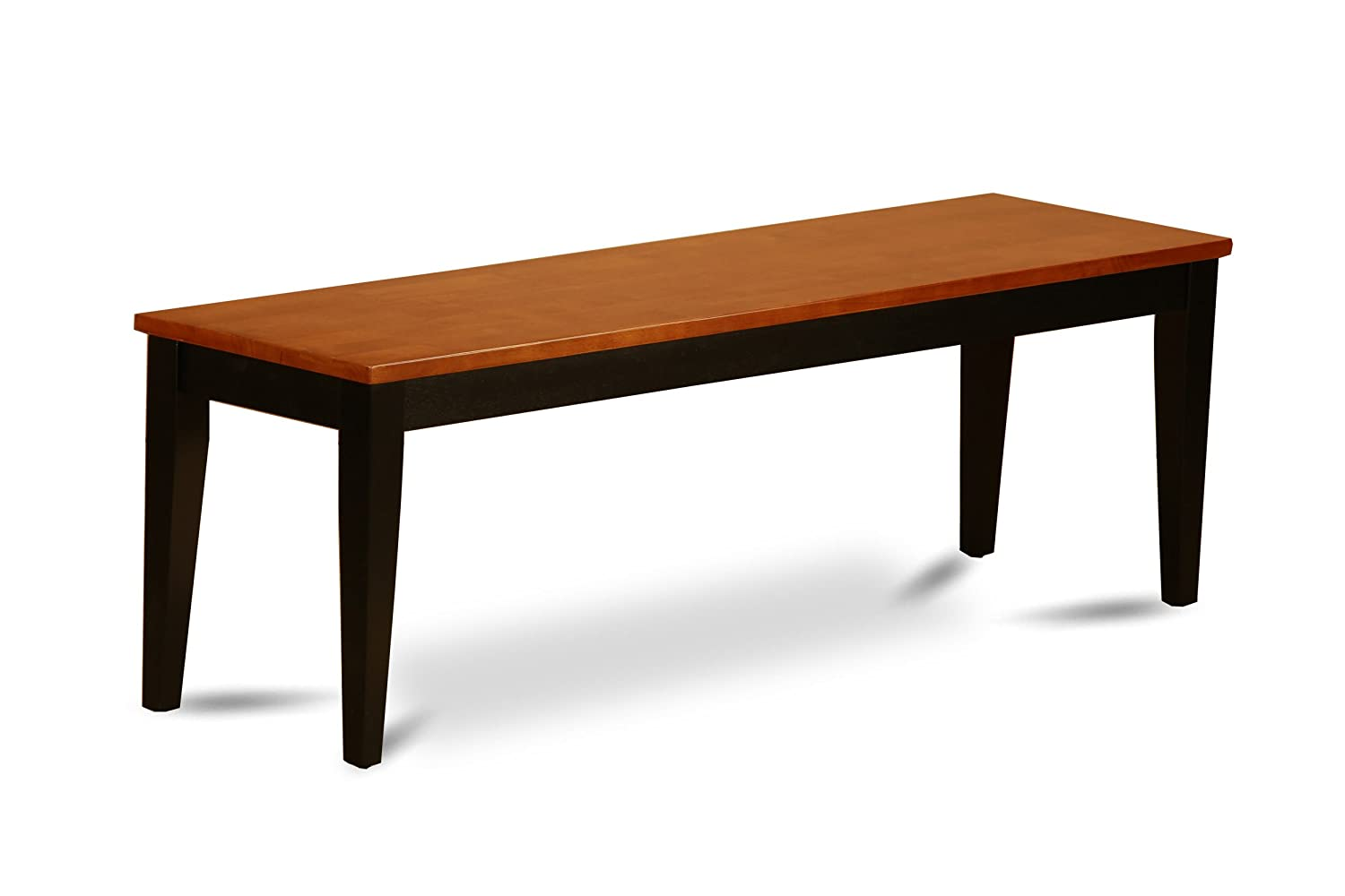 East West Furniture Dining Bench with Wood Seat, Black/Cherry Finish