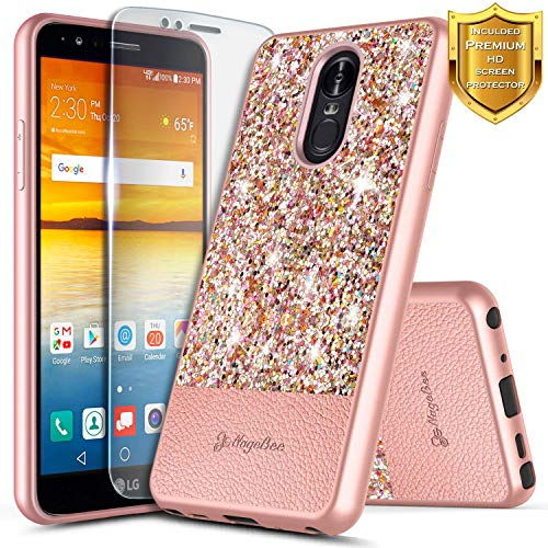 (LG Stylo 4 Case, LG Stylo 4 Plus Case, LG Q Stylus w/[Premium Screen Protector HD Clear], NageBee Glitter Crystal Sparkle Shiny Bling Ultra Slim Thin Soft Leather Cute Case -Rose Gold)