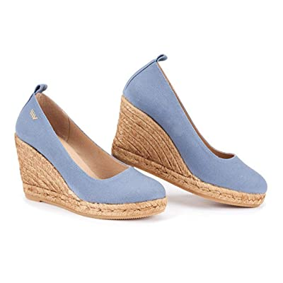 "VISCATA BARCELONA 3.25"" Wedge Pump, Canvas, Slip-on, Closed Toe, Espadrilles Heel Made in Spain 