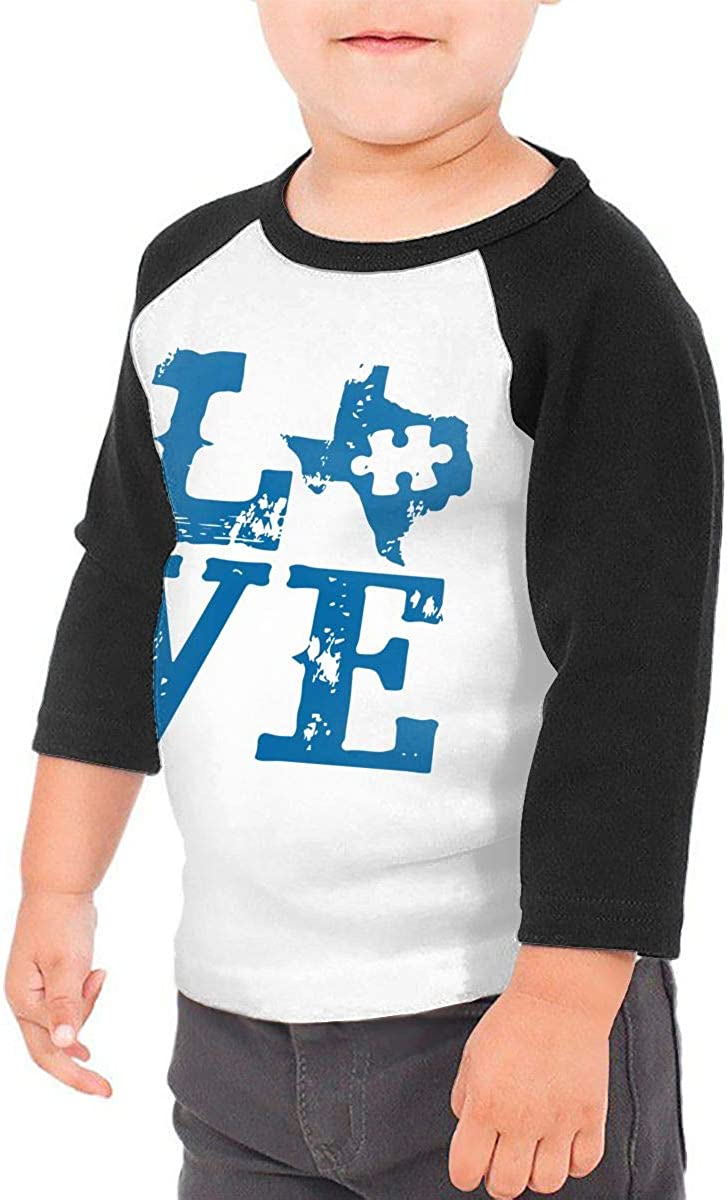 Boys Girls Kids /& Toddler Love Texas Autism-1 Long Sleeve T-Shirt 100/% Cotton