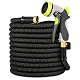 Garden Hose, Lightweight Expandable Water Hose, Expanding Hose with Solid Brass Connector, Double Latex Inner Tube, for Car Washing, Garden Watering (75FT, Black)