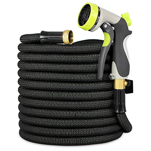 Garden Hose, Lightweight Expandable Water Hose, Expanding Hose with Solid Brass Connector, Double Latex Inner Tube, for Car Washing, Garden Watering (100FT, Black)