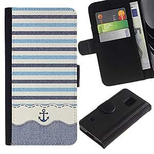 Paccase / Billetera de Cuero Caso del tirón Titular de la tarjeta Carcasa Funda para - Stripws Crocheted Fabric Boat - Samsung Galaxy S5 V SM-G900