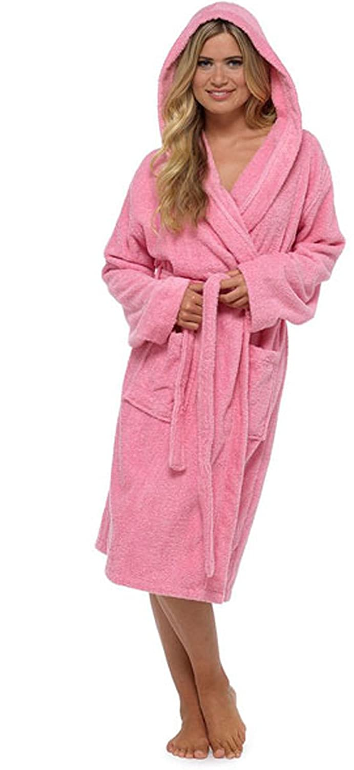 Best Deals Direct Ladies Hooded Toweling Dressing Gown (S, Pink ...
