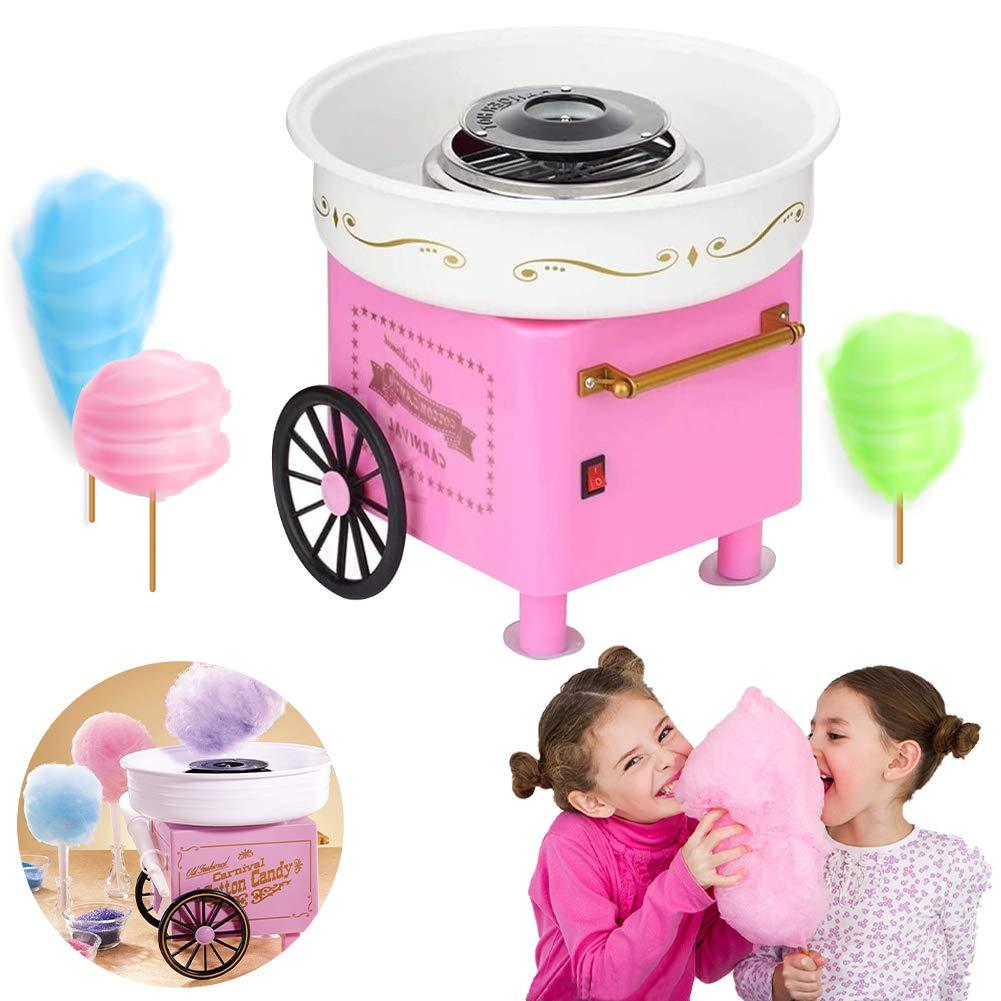 Cotton Candy Floss Maker Cotton Candy Machine JK-1801 Home Fashion Mini Cotton Candy Machine Cotton Candy Kit for Children Kids Halloween Candy (Pink 30x30x28cm)