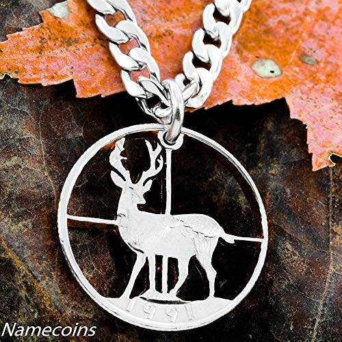 Buck Deer in Crosshairs Necklace hunting Jewelry, Cross hairs necklace, hand cut coin, By NameCoins