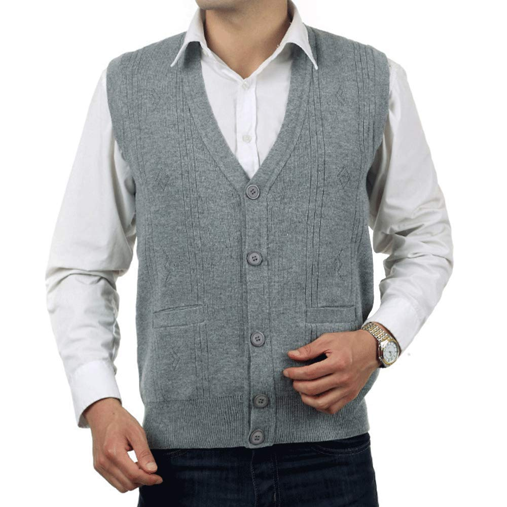 HIENAJ Men's V Neck Jacquard Sweater Vest Button Down Fitted Sleeveless Knit Tanktop