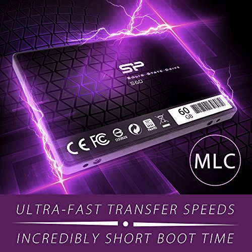 Silicon Power 60GB SSD S60 MLC High Endurance SATA III 2.5'' 7mm (0.28'') Internal Solid State Drive- Free-download SSD Health Monitor Tool Included (SP060GBSS3S60S25AE) by Silicon Power (Image #2)