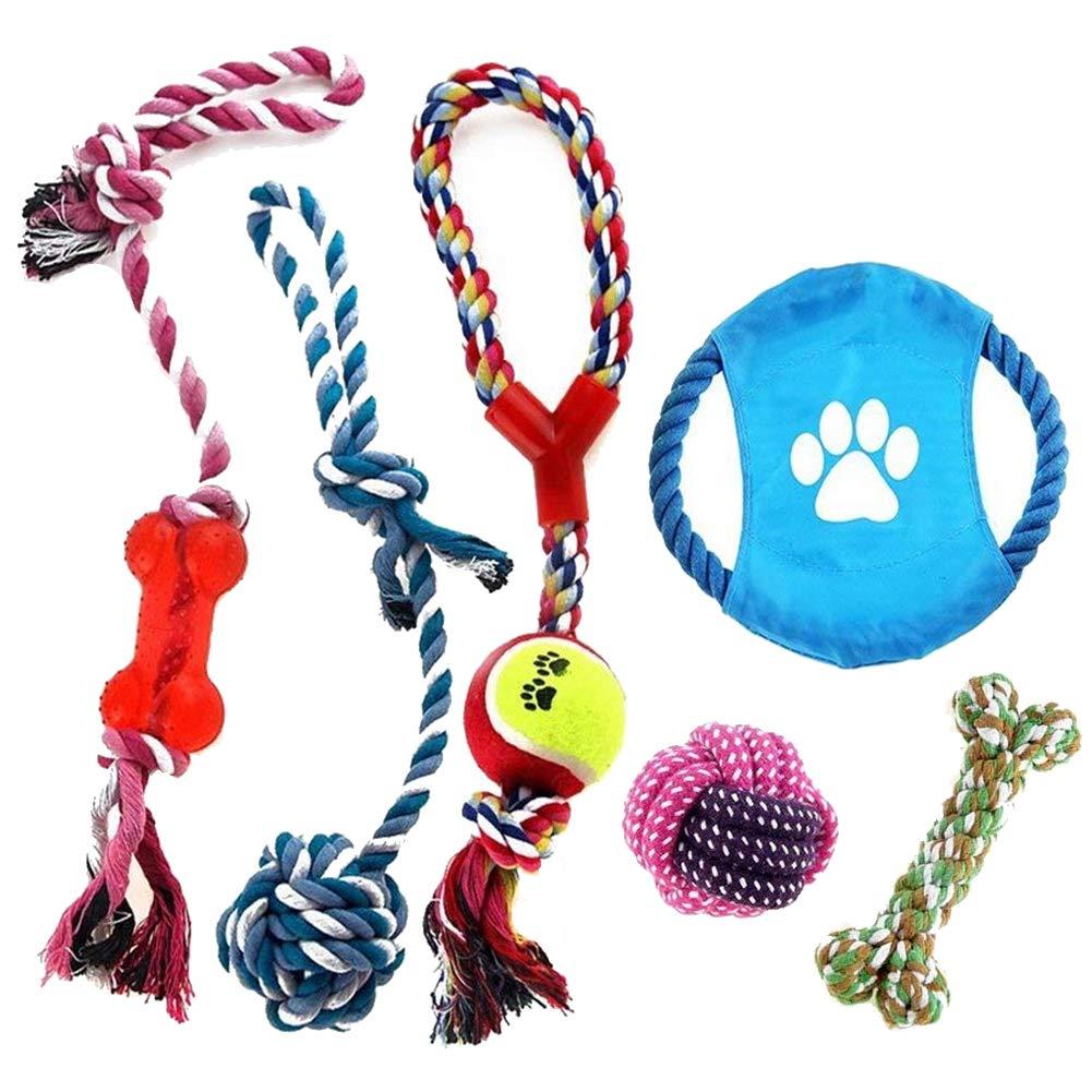 Angker Corde Jouets pour chien–Couleur Corde durable Chew Toys Corde en coton Nettoyer les dents Jouets Medium et Lot de 6ensemble cadeau–avec boule, épais Corde de dentition, Tug-of-war