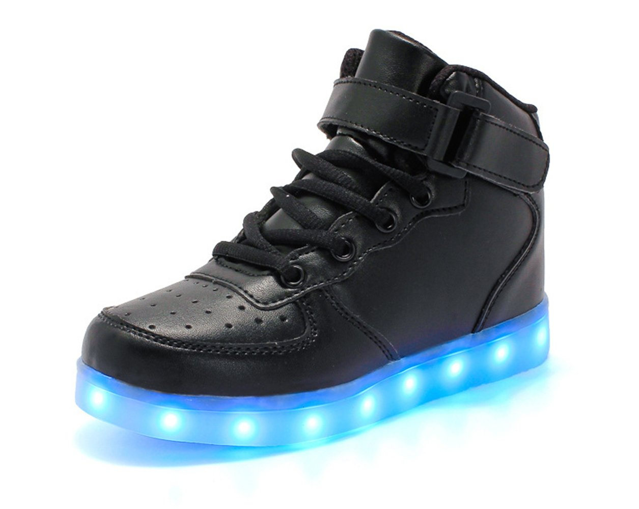 24XOmx55S99 Boy and Girl's Glow Up Walking Sneaker Hook and Loop Boat Light Up Shoes (Black-02 36/4?