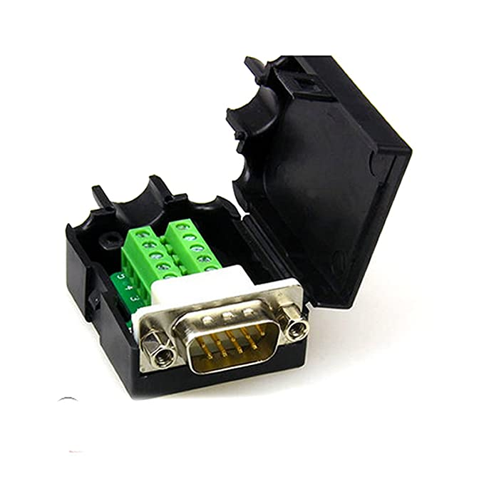 DB9 DB9/D-SUB VGA adaptador 9/pin se/ñales Terminal Breakout Cubierta de pl/ástico 2/fila RS232