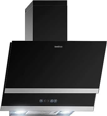 bredeco Campana Inclinada De Pared Para Cocina BCCH-200A-60G (Acero inoxidable/vidrio, LED 2 x 2 W, Nivel de ruido de 70 dB, 635,4 m³/h, 60 cm): Amazon.es: Grandes electrodomésticos
