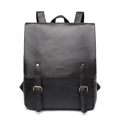 Zebella Womens Vegan Vintage Leather Backpack Faux Leather Laptop Backpack Travel Daypack College Bookbag-Black
