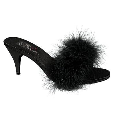 bb7b44af71f 3 Inch Classic Marabou Slipper Faux Fur Sexy Shoes Black Satin Size  5