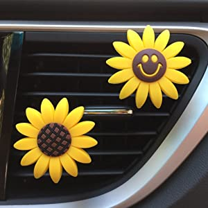 INEBIZ Car Charm Cute Yellow Sunflower Car Interior Air Vent Decorations Perfume, Creative Fragrance Air Freshener Holder & Container