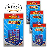 4 Pack - Match 4 Travel Game – Mini Connect 4 Style Great for Party favors Giveaways