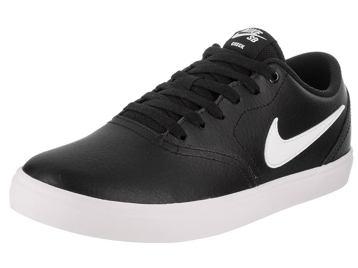 buy online 09d67 dfeab Amazon.com   Nike SB Check Solarsoft Leather Unisex Skate Shoes Black White  (11.5 D US)   Skateboarding