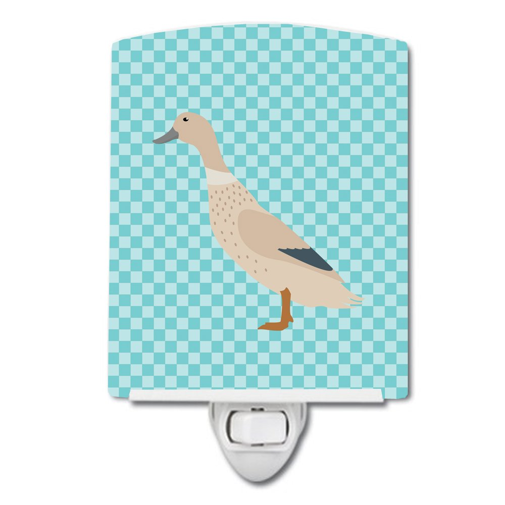 Carolines Treasures West Harlequin Duck Blue Check Ceramic Night Light 6x4 Multicolor
