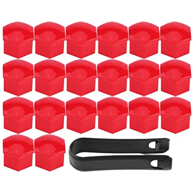 Keenso 20Pcs 17mm Car Lug Nut Bolt Screw Cover Wheel Hub Covers Tyre Protection Cap and Removal Tool Universal(Red): Automotive