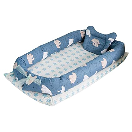 Aolvo Snuggle Nest, Baby Lounger Newborn Lounger Portable Baby Bassinet Newborn Lounger Cover Baby Co-Sleeping Cribs 100% Organic Cotton Breathable ...