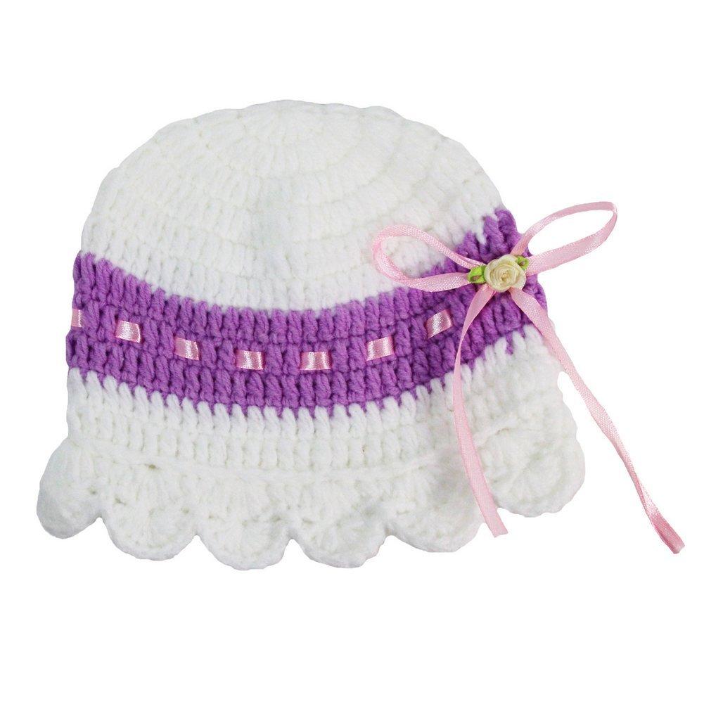 Little Girls White Purple Crochet Vintage Look Hat 2-4 Years