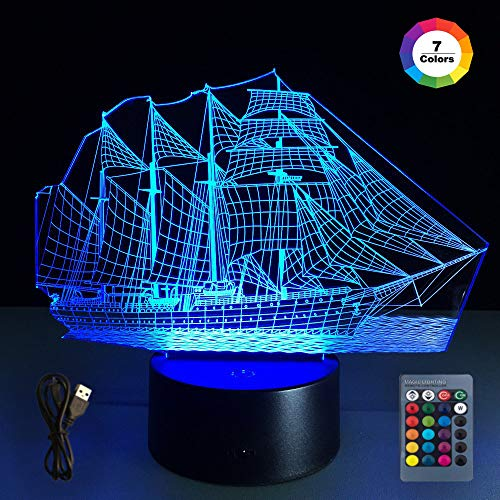 (Sailboat 3D led Illusion lamp,Night Lights for 7 LED Colors Changing Lighting, Touch USB Charge Table Desk Bedroom Decoration,Decorative Lighting Gifts for Boys Girls Kids Baby Friends)