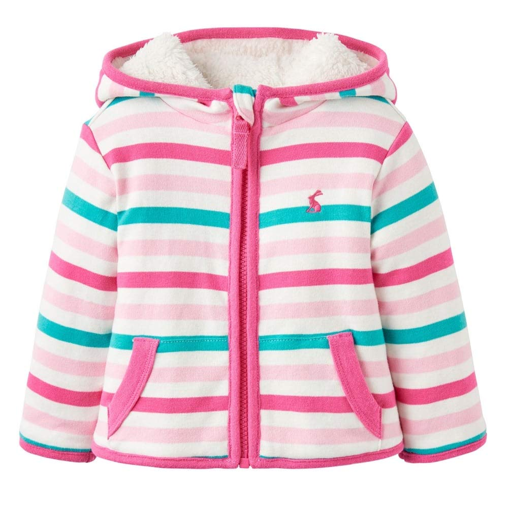 Joules Baby Infant Girls Mauve Multi Striped Cosette Reversible Jacket
