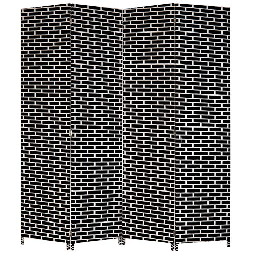 MyGift 4-Panel Black & White Woven Seagrass Room Divider, 6-Foot Freestanding Folding Screen