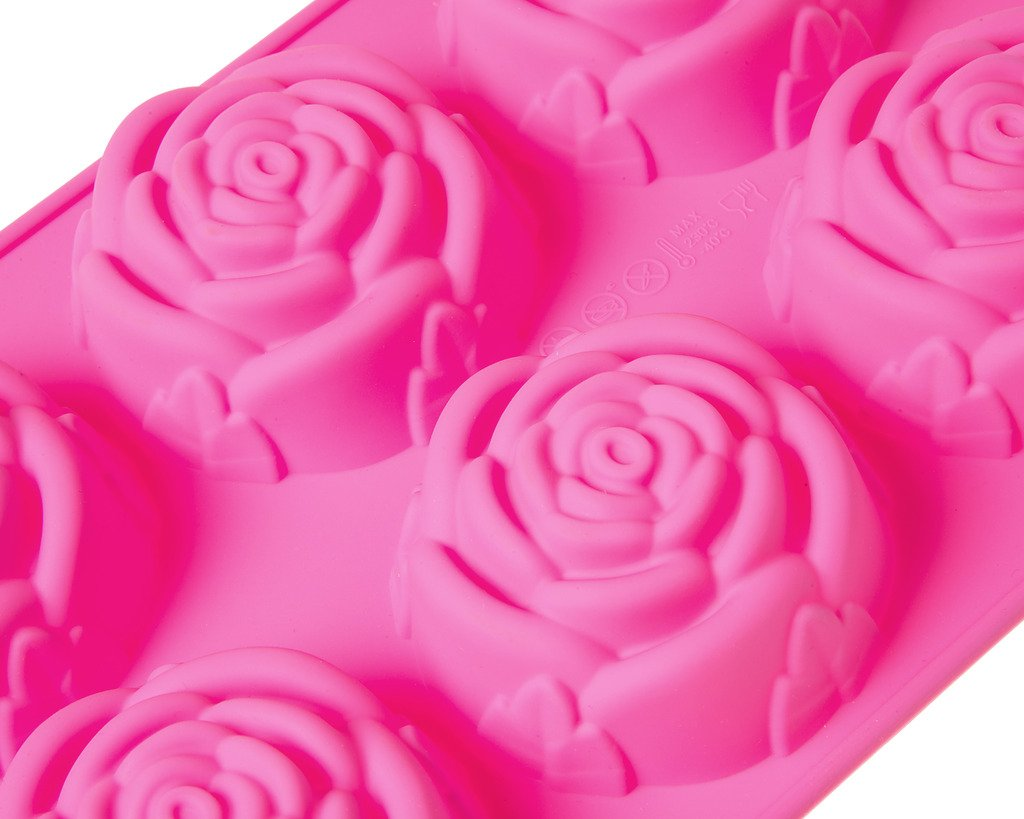 6 Cavity 3D Rose Shaped DIY Silicone Mold for Soap Cake Food Pudding and More