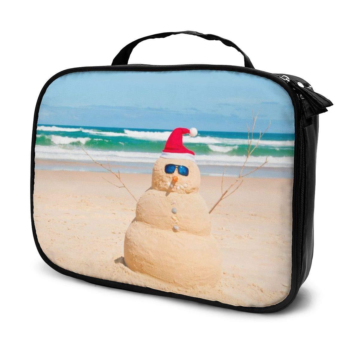 Premium Makeup Cosmetic Bag - Summer Australia Beach Snowman Large Capacity Travel Makeup Train Case - Multifunction Toiletry Storage Bag For Womens
