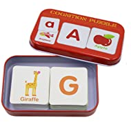 BabyPrice 56pcs Anti-Tear Flash Cards Learning Alphabet Puzzle Cards, Jigsaw Shape Matching Puzzle Cognitive Early Educational Learning Toys with Mental Storage Box