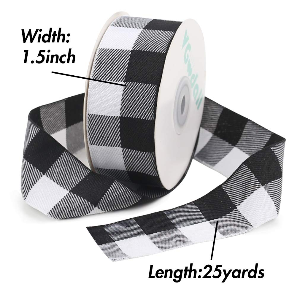 Buffalo Ribbon Decoration-25 Yards ×1.5 Inch White and Black Gingham Ribbon, Decorate Your House,Staircase and DIY Any Kind of Style You Like